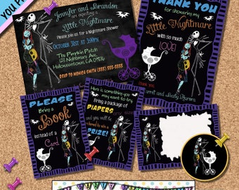 Nightmare before Christmas BABY SHOWER INVITATION Package Invites Halloween invite