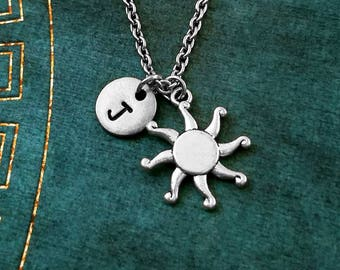 Sun Necklace SMALL Sun Jewelry Radiant Sun Charm Necklace Celestial Jewelry Sun Pendant Necklace Sun Charm Necklace Initial Necklace Gift