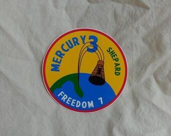 "Mercury 3 sticker, 4"" dia, gloss vinyl, weatherproof"