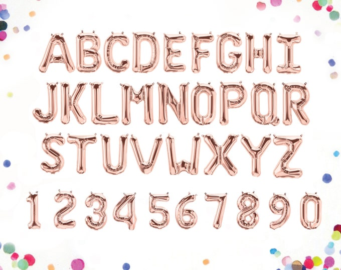 "Rose Gold Letter Balloon Letters, Rose Gold Balloons, Rose Gold Balloon Number, Rose Gold Letter Balloons, Letter Balloons, 14"" Balloons"