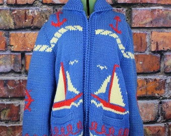 Sailboats Vintage Homemade 1960s Curling Sweater