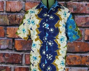 Vintage 1960s Hawaiian Bark Cloth Shirt