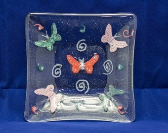 A Beautiful Butterfly Fused Glass Dish