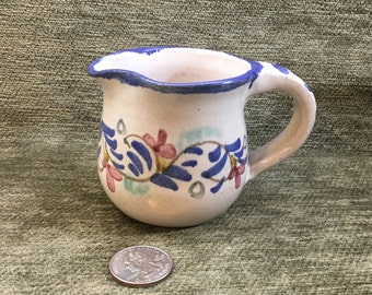 Berkshire Pottery Creamer, Hand Painted Floral Creamer, Cobalt Blue Trim, Signed Hillsdale Berkshire Pottery, Hillsdale NY