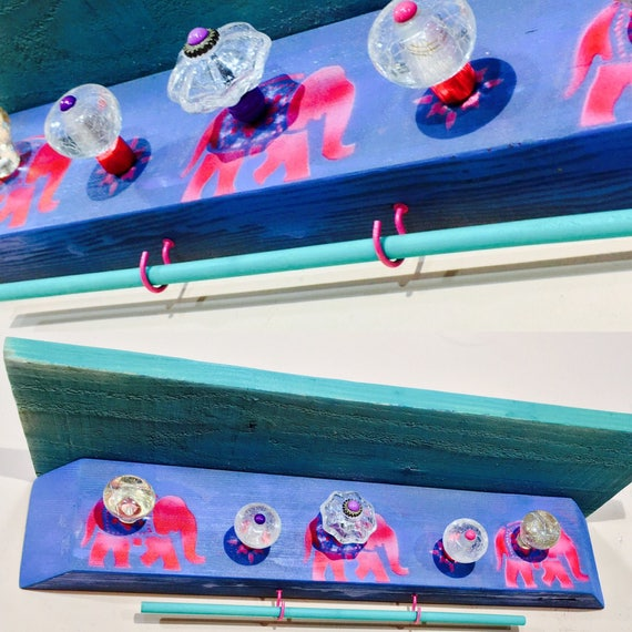 Baby girl Nursery wall decor Floating shelves /shelving wall hanging shelf /reclaimed wood elephants 5 glass knobs 2 pink hooks bracelet bar