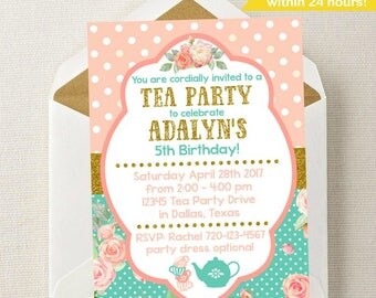 Tea Party Invitation // Tea Party Birthday Invitation // Tea Party Invite // Tea Party Birthday // Tea Party // Dress-up Party // Princess