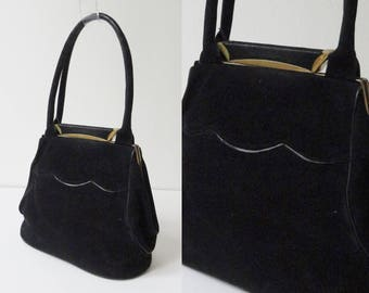 Black 40s Suede Vintage Hand Bag/Party Bag With Golden Closure