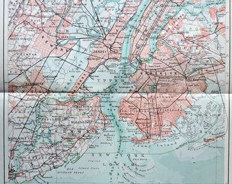 New York map at the beginning of 20th century. Old book plate, 1904. Antique illustration. 113 years lithograph. 9'6 x 11'7 inches.