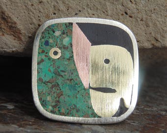 Mexican Sterling, Brass, Copper and Crushed Green Stone Square Pin / Brooch
