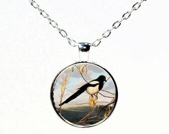 Silver Magpie Round Pendant Necklace - Bird Pendant Necklace - Bird Jewelry - Bird Art