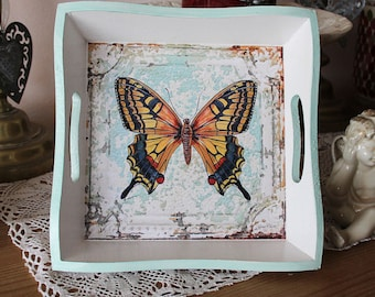 Empty pockets, small romantic square tray - butterfly - effect shabby