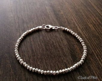Karen Hill tribe silver 4mm beads faceted bracelet. Fine silver faceted beads bracelet. Bridal bracelet. Solid silver bracelet