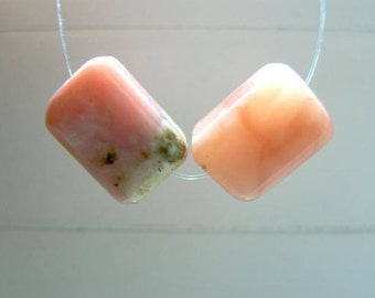Pink Peruvian opal gemstone rectangular beads- 2 pendant cube beads-15x10mm-Gemstone Supply-Jewelry beads supply- focal rectangle beads.