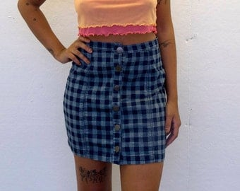 Blue Gingham Print Denim Skirt