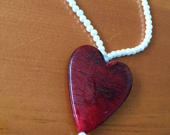 Red Heart Necklace 18 inch