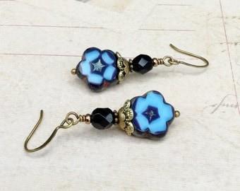 Blue Earrings, Black earrings, Light Blue Earrings, Blue and Black Earrings, Flower Earrings, Czech Glass Beads, Blue Flower Earrings, Gifts