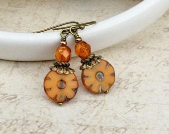 Orange Earrings, Orange Jewelry, Rustic Earrings, Antique Gold Earrings, Czech Glass Beads, Unique Earrings, Womens Earrings, Gifts for Her
