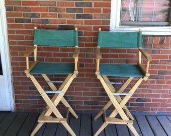 Vintage Pair Of Two Tall Director Chairs Bar Stools Wood Frame Green Canvas  Folding Chairs Telescope