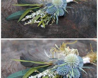 custom boutonniere, thistle boutonniere, blue boutonniere, dried flower boutonniere, woodland boutonniere, navy blue boutonniere, feather