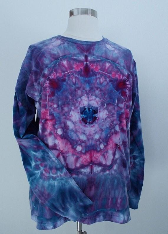 Ice-dyed Long Sleeve Unisex 2XL Mandala TShirt