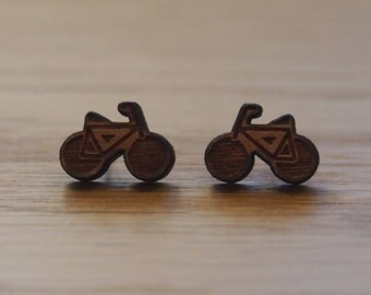 Beautifully laser cut bicycle earrings. Hypoallergenic steel posts