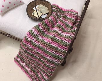 Shabby Chic Handmade Miniature Dollhouse Small Bed Throws - Hand Knitted  - Pink/Green Multi