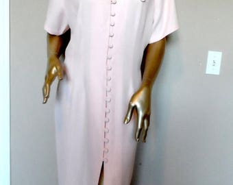 40% OFF Vintage 1980's Pink Maxi Dress with White Lace Collar* DAWN JOY Fashions . Size L . Wedding  . Church . Party . Graduation . Mother