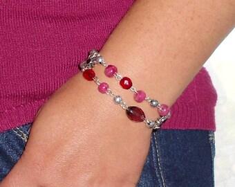 Swarrovski Crystal and silver metal bracelet