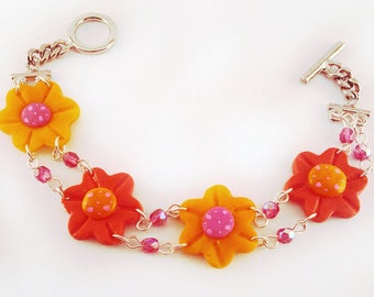 Adorable flower bracelet yellow and orange with Crystal beads
