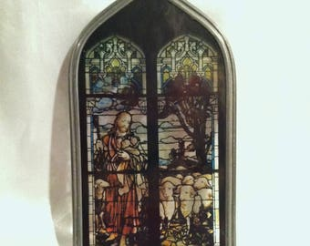 Vintage Christ And His Flock Small Stained Glass Window