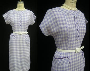 Vintage 50s Cotton SHEATH DRESS Sexy SECRETARY Summer Party Lavender Ric Rac Trim  Bust 37""