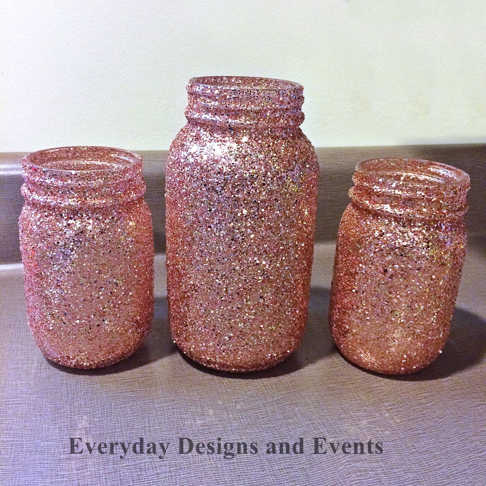 Mason Jars, Rose Gold, Baby Shower Ideas, Baby Shower Decorations, Wedding,  Wedding Decorations, Wedding Centerpieces, Party Supplies, Decor