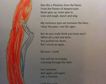 Rise Like A Phoenix:Original poetry print