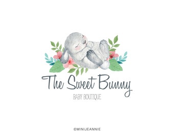 Bunny Logo-Rabbit Logo-Animal Logo-Etsy logo-Watercolor Logo-Business Logo-Branding package-Blog Logo-Premade logo-Free Font Change