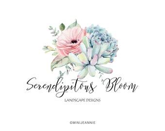 Floral Logo-Succulent Logo-Rustic Flower Logo-Boho Flower logo-Etsy logo-Watercolor Logo-Business Logo-Premade logo-Free Font Change