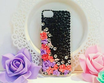 Iphone case, iphone cover, mobile cover, fancy, bling, mobile case, handmade cover, party-wear, black cover, flower mobile cover, kawaii