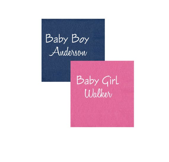baby shower napkins, gender reveal napkins, baby boy napkins, baby girl napkins, personalized napkin, personalized cocktail napkin