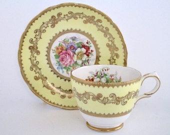 Grosvenor England Bone China Tea Cup And Saucer, Vintage Tableware