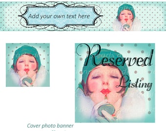 Lady In Green Hat 3 PC Etsy banner set, large Cover, shop icon, Reserved Listing, blank vintage theme 1920s Flapper lipstick compact hat