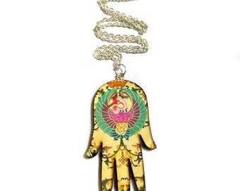 Hamsa Hand Necklace, Evil eye, Good luck, Oriental Ethnic Decor, Vintage Retro style, pink, Green, Gold, Amulet, Fleur de Lis, Long necklace
