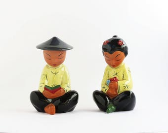Vintage Bookend Set, Chinese Style Pair Boy and Girl  1940s/50s