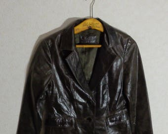 Brown 70's Leather Jacket Classic Womens Spring Autumn Jacket Small-Medium (EUR-38) Size