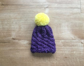 Cabled Newborn / Baby / Vikings Winter Hat / Purple / Yellow / Oversized Pom Pom