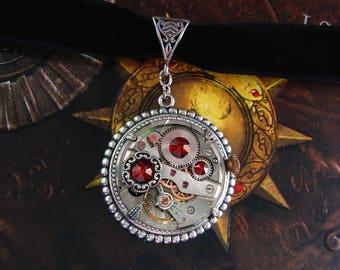 Steampunk Necklace - Choker - Clockwork - Watch Movement - Black Velvet - Watchwork - Victorian - Gear Wheel - Jewelry