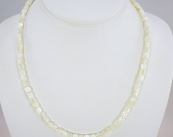 Mother of Pearl Bead Necklace, Pearl Necklace, Bead Necklace, Barrel Beads, Genuine MOP, Sterling Beads, Magnetic Clasp