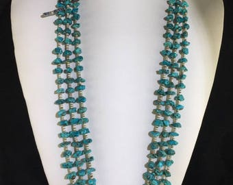 Raymond Tenorio Turquoise and Heishi Shell Native American Necklace with 3 Strands of Heishi Shell Beads and Chunky Natural Turquoise Stones