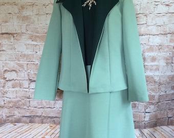 Vintage Suit Dress & Jacket Green Polyester Mad Men Secretary Teacher School Mistress Wedding Guest c1960s 42 in Bust 34in Waist