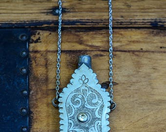 Long Silver Pendant Decorative Flask