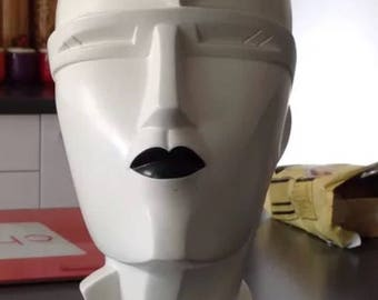 RARE Vintage Mannequin Head named Irmgard By Famous designer & Signed by her LINDSEY  B white with black lips