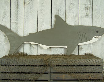 Great White Shark Decor Shark Gift Beach Lovers Gift Beach House Gift Beach House Decor Wood Shark Art Beach Decor Wooden Shark Wall Art